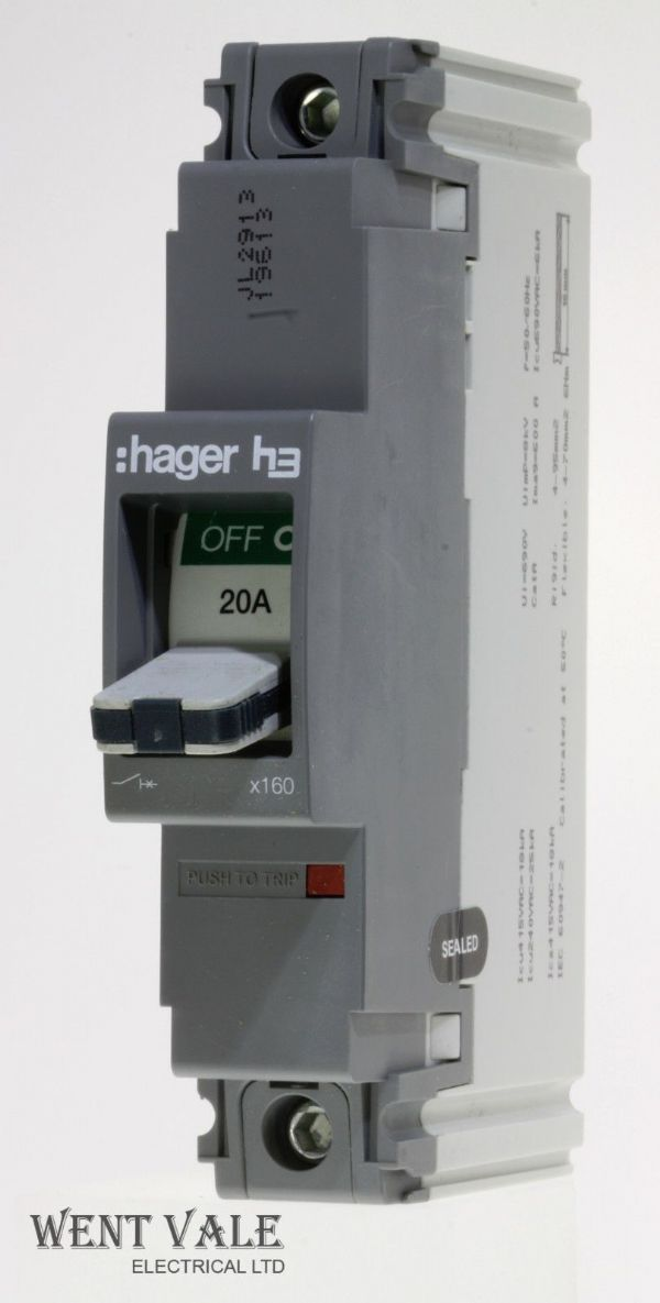 Hager H3 - HDA018Z - 131858 - 20a Single Pole MCCB New
